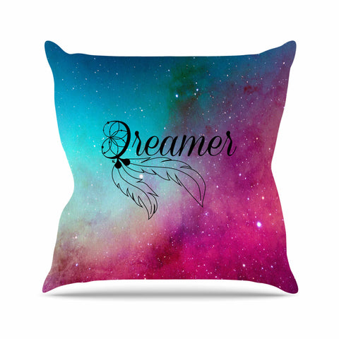 "NL designs ""Dream Catcher Teal Pink Galaxy"" Multicolor Black Typography Celestial Digital Watercolor Outdoor Throw Pillow"