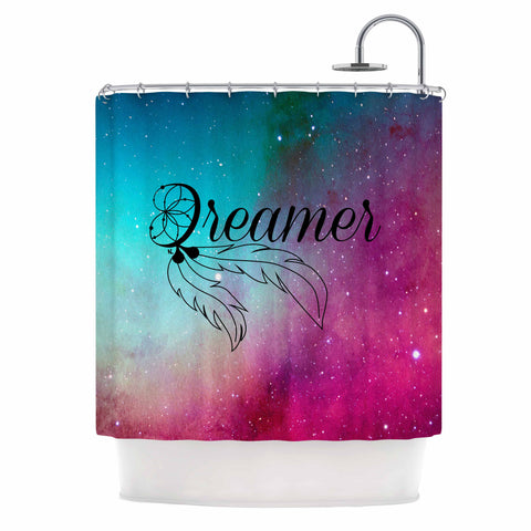 "NL designs ""Dream Catcher Teal Pink Galaxy"" Multicolor Black Typography Celestial Digital Watercolor Shower Curtain"