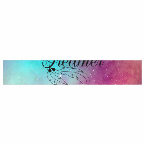 "NL designs ""Dream Catcher Teal Pink Galaxy"" Multicolor Black Typography Celestial Digital Watercolor Table Runner"