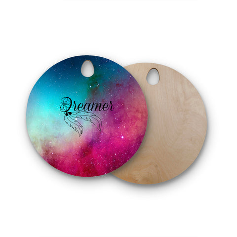 "NL designs ""Dream Catcher Teal Pink Galaxy"" Multicolor Black Typography Celestial Digital Watercolor Round Wooden Cutting Board"