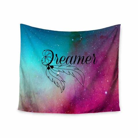 "NL designs ""Dream Catcher Teal Pink Galaxy"" Multicolor Black Typography Celestial Digital Watercolor Wall Tapestry"