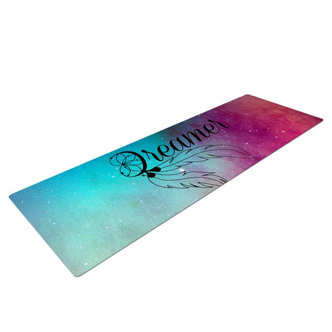 "NL designs ""Dream Catcher Teal Pink Galaxy"" Multicolor Black Typography Celestial Digital Watercolor Yoga Mat"