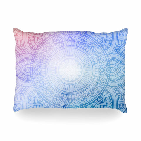 "NL designs ""Pastel Rainbow Mandala"" Pastel Multicolor Ethnic Pattern Digital Vector Oblong Pillow"