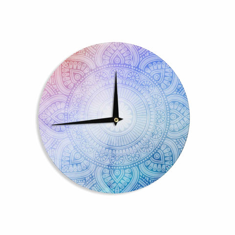"NL designs ""Pastel Rainbow Mandala"" Pastel Multicolor Ethnic Pattern Digital Vector Wall Clock"