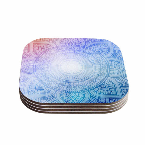 "NL designs ""Pastel Rainbow Mandala"" Pastel Multicolor Ethnic Pattern Digital Vector Coasters (Set of 4)"