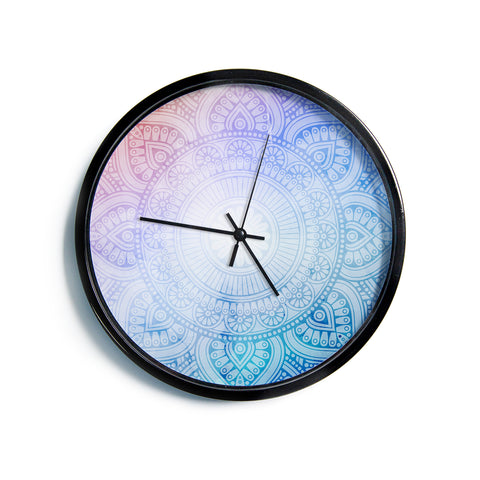 "NL designs ""Pastel Rainbow Mandala"" Pastel Multicolor Ethnic Pattern Digital Vector Modern Wall Clock"