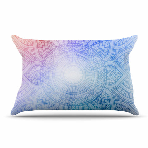 "NL designs ""Pastel Rainbow Mandala"" Pastel Multicolor Ethnic Pattern Digital Vector Pillow Sham"