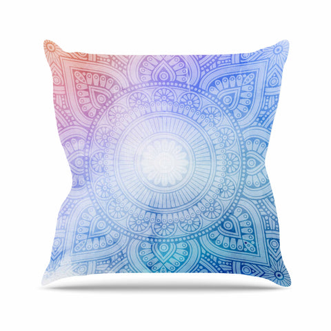 "NL designs ""Pastel Rainbow Mandala"" Pastel Multicolor Ethnic Pattern Digital Vector Outdoor Throw Pillow"