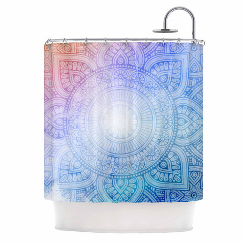 "NL designs ""Pastel Rainbow Mandala"" Pastel Multicolor Ethnic Pattern Digital Vector Shower Curtain"