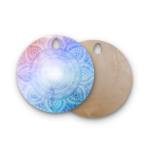 "NL designs ""Pastel Rainbow Mandala"" Pastel Multicolor Ethnic Pattern Digital Vector Round Wooden Cutting Board"