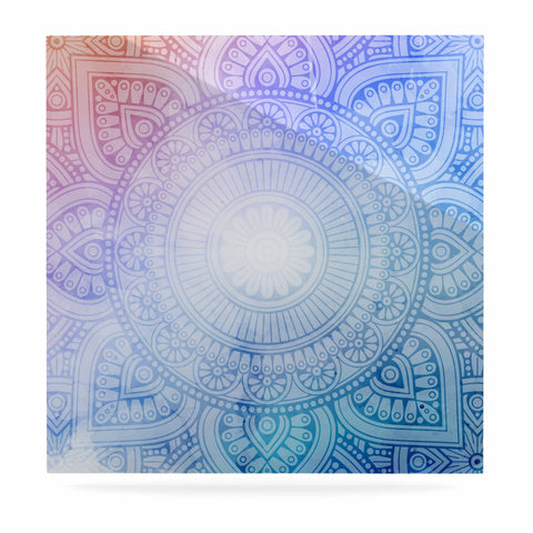 "NL designs ""Pastel Rainbow Mandala"" Pastel Multicolor Ethnic Pattern Digital Vector Luxe Square Panel"