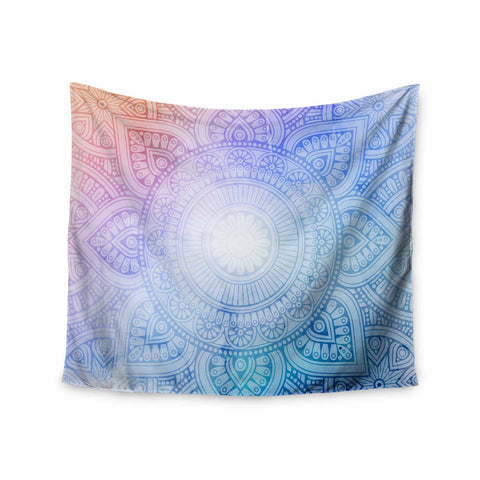 "NL designs ""Pastel Rainbow Mandala"" Pastel Multicolor Ethnic Pattern Digital Vector Wall Tapestry"