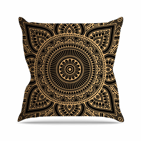 "NL designs ""Black And Gold Mandala"" Black Gold Tribal Arabesque Digital Vector Throw Pillow"