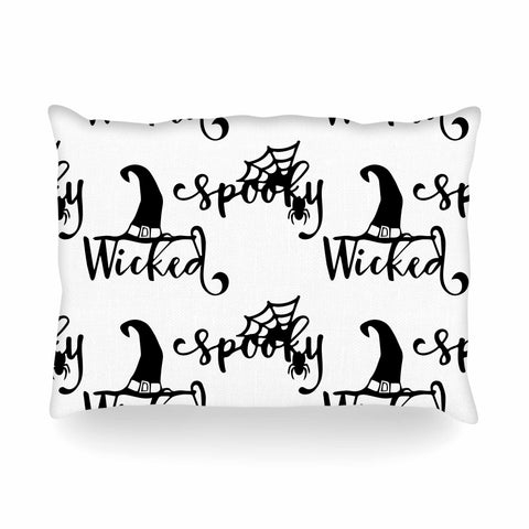 "NL designs ""Spooky Wicked Pattern"" Black White Typography Holiday Digital Vector Oblong Pillow"