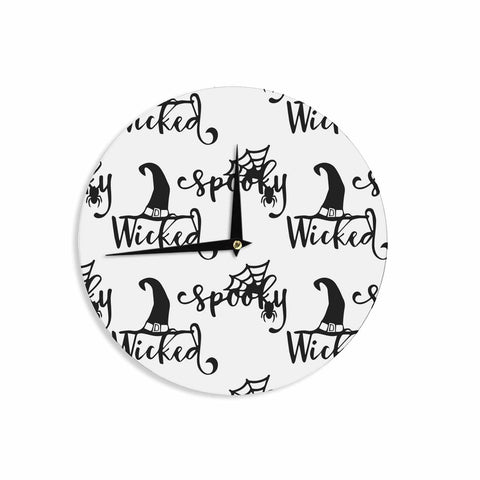 "NL designs ""Spooky Wicked Pattern"" Black White Typography Holiday Digital Vector Wall Clock"