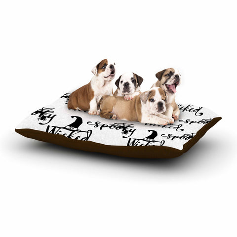 "NL designs ""Spooky Wicked Pattern"" Black White Typography Holiday Digital Vector Dog Bed"