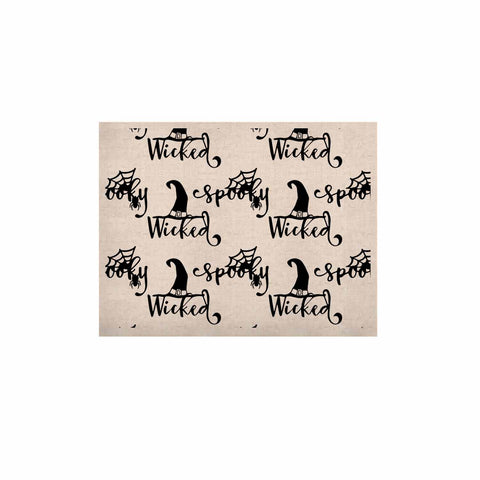 "NL designs ""Spooky Wicked Pattern"" Black White Typography Holiday Digital Vector KESS Naturals Canvas (Frame not Included)"