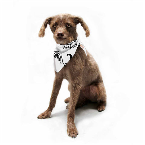 "NL designs ""Spooky Wicked Pattern"" Black White Typography Holiday Digital Vector Pet Bandana"