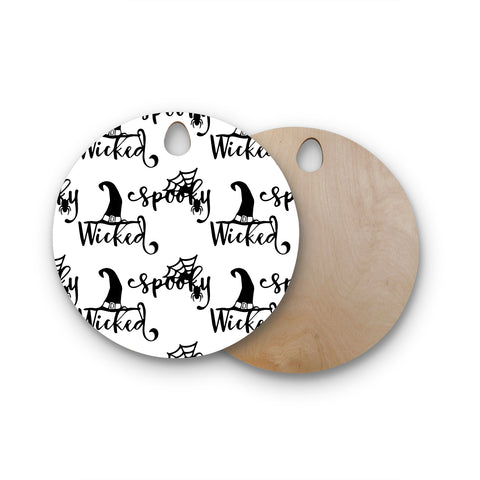 "NL designs ""Spooky Wicked Pattern"" Black White Typography Holiday Digital Vector Round Wooden Cutting Board"