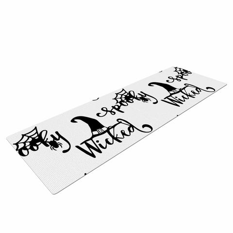 "NL designs ""Spooky Wicked Pattern"" Black White Typography Holiday Digital Vector Yoga Mat"