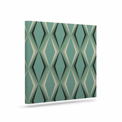 "NL designs ""Retro Diamond Pattern Green"" Gray Green Pattern Vintage Digital Vector Art Canvas"