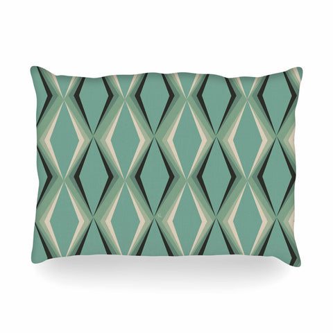 "NL designs ""Retro Diamond Pattern Green"" Gray Green Pattern Vintage Digital Vector Oblong Pillow"