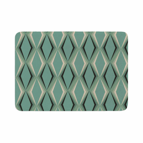"NL designs ""Retro Diamond Pattern Green"" Gray Green Pattern Vintage Digital Vector Memory Foam Bath Mat"