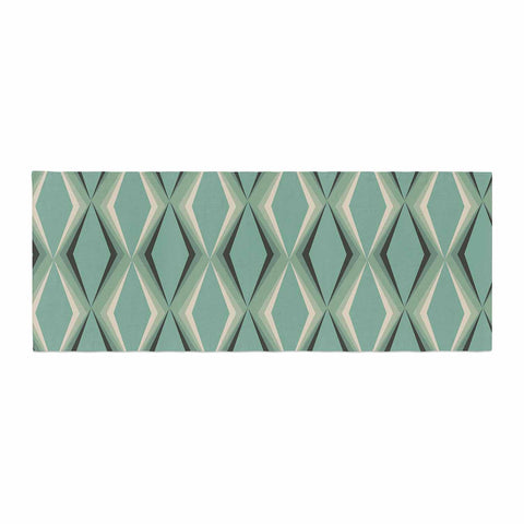 "NL designs ""Retro Diamond Pattern Green"" Gray Green Pattern Vintage Digital Vector Bed Runner"
