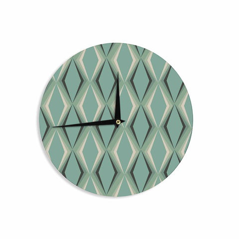 "NL designs ""Retro Diamond Pattern Green"" Gray Green Pattern Vintage Digital Vector Wall Clock"