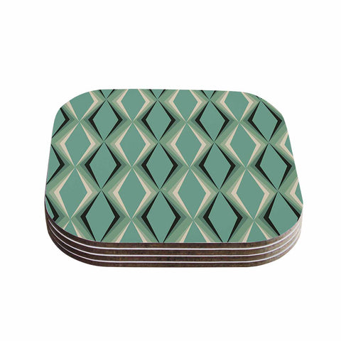 "NL designs ""Retro Diamond Pattern Green"" Gray Green Pattern Vintage Digital Vector Coasters (Set of 4)"