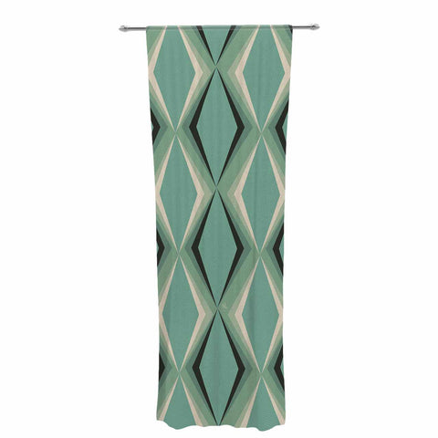 "NL designs ""Retro Diamond Pattern Green"" Gray Green Pattern Vintage Digital Vector Decorative Sheer Curtain"