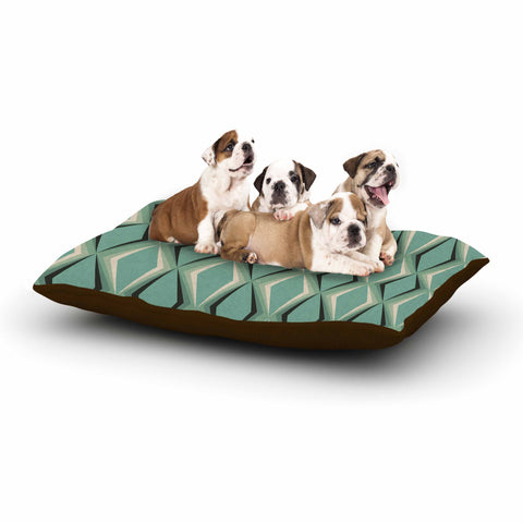 "NL designs ""Retro Diamond Pattern Green"" Gray Green Pattern Vintage Digital Vector Dog Bed"