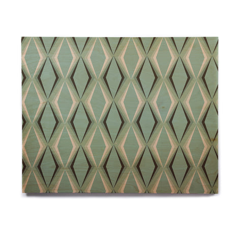 "NL designs ""Retro Diamond Pattern Green"" Gray Green Pattern Vintage Digital Vector Birchwood Wall Art"