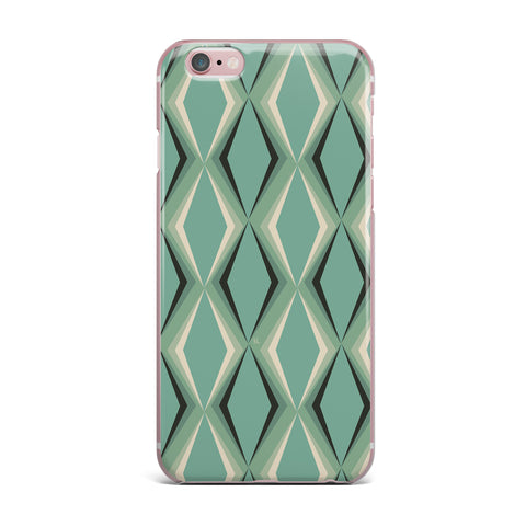 "NL designs ""Retro Diamond Pattern Green"" Gray Green Pattern Vintage Digital Vector iPhone Case"