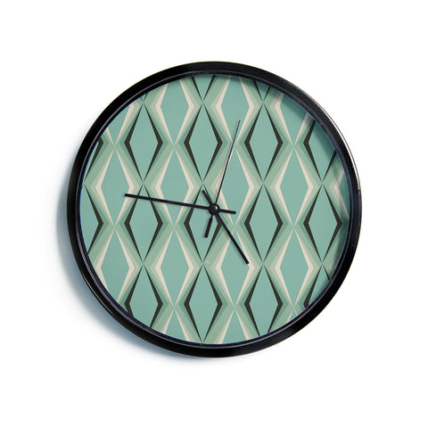 "NL designs ""Retro Diamond Pattern Green"" Gray Green Pattern Vintage Digital Vector Modern Wall Clock"