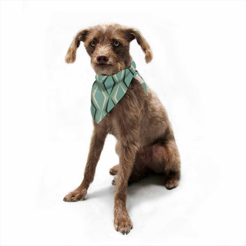 "NL designs ""Retro Diamond Pattern Green"" Gray Green Pattern Vintage Digital Vector Pet Bandana"