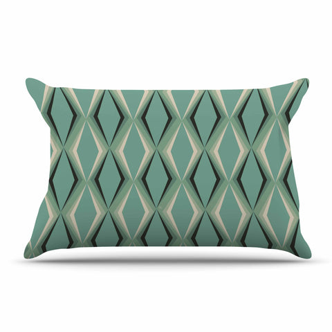 "NL designs ""Retro Diamond Pattern Green"" Gray Green Pattern Vintage Digital Vector Pillow Sham"