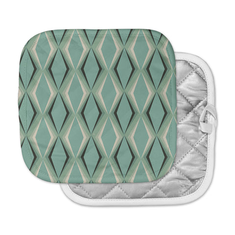 "NL designs ""Retro Diamond Pattern Green"" Gray Green Pattern Vintage Digital Vector Pot Holder"