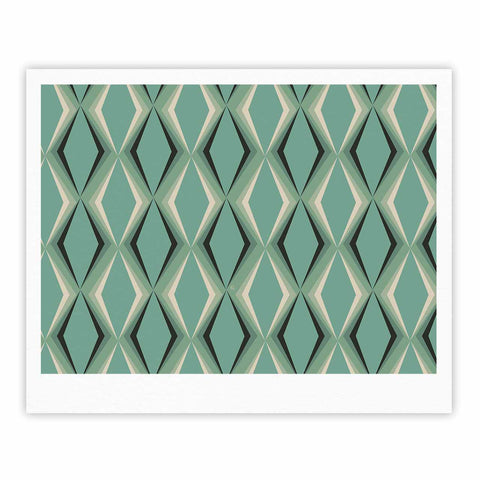 "NL designs ""Retro Diamond Pattern Green"" Gray Green Pattern Vintage Digital Vector Fine Art Gallery Print"
