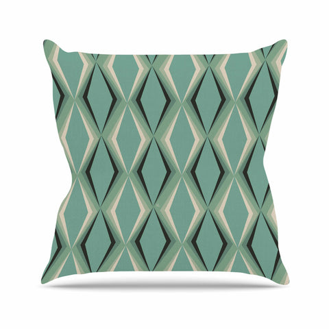 "NL designs ""Retro Diamond Pattern Green"" Gray Green Pattern Vintage Digital Vector Outdoor Throw Pillow"