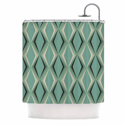 "NL designs ""Retro Diamond Pattern Green"" Gray Green Pattern Vintage Digital Vector Shower Curtain"