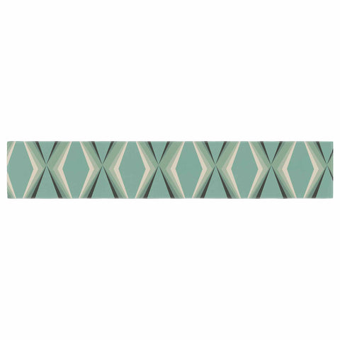 "NL designs ""Retro Diamond Pattern Green"" Gray Green Pattern Vintage Digital Vector Table Runner"