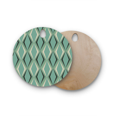 "NL designs ""Retro Diamond Pattern Green"" Gray Green Pattern Vintage Digital Vector Round Wooden Cutting Board"