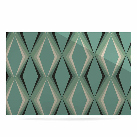 "NL designs ""Retro Diamond Pattern Green"" Gray Green Pattern Vintage Digital Vector Luxe Rectangle Panel"