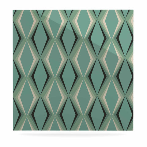 "NL designs ""Retro Diamond Pattern Green"" Gray Green Pattern Vintage Digital Vector Luxe Square Panel"