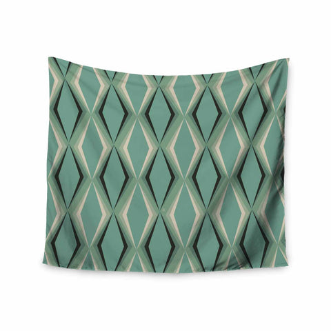 "NL designs ""Retro Diamond Pattern Green"" Gray Green Pattern Vintage Digital Vector Wall Tapestry"