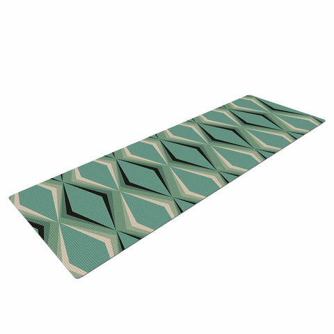 "NL designs ""Retro Diamond Pattern Green"" Gray Green Pattern Vintage Digital Vector Yoga Mat"