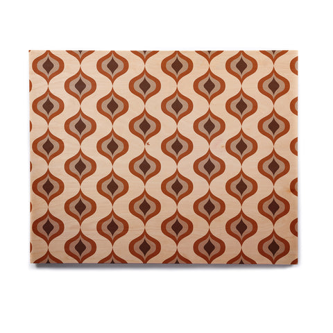 "NL designs ""Retro Pattern Orange"" Tan Brown Pattern Vintage Digital Vector Birchwood Wall Art"