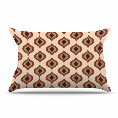 "NL designs ""Retro Pattern Orange"" Tan Brown Pattern Vintage Digital Vector Pillow Sham"