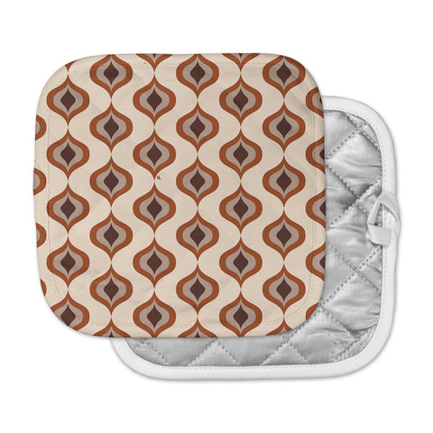 "NL designs ""Retro Pattern Orange"" Tan Brown Pattern Vintage Digital Vector Pot Holder"